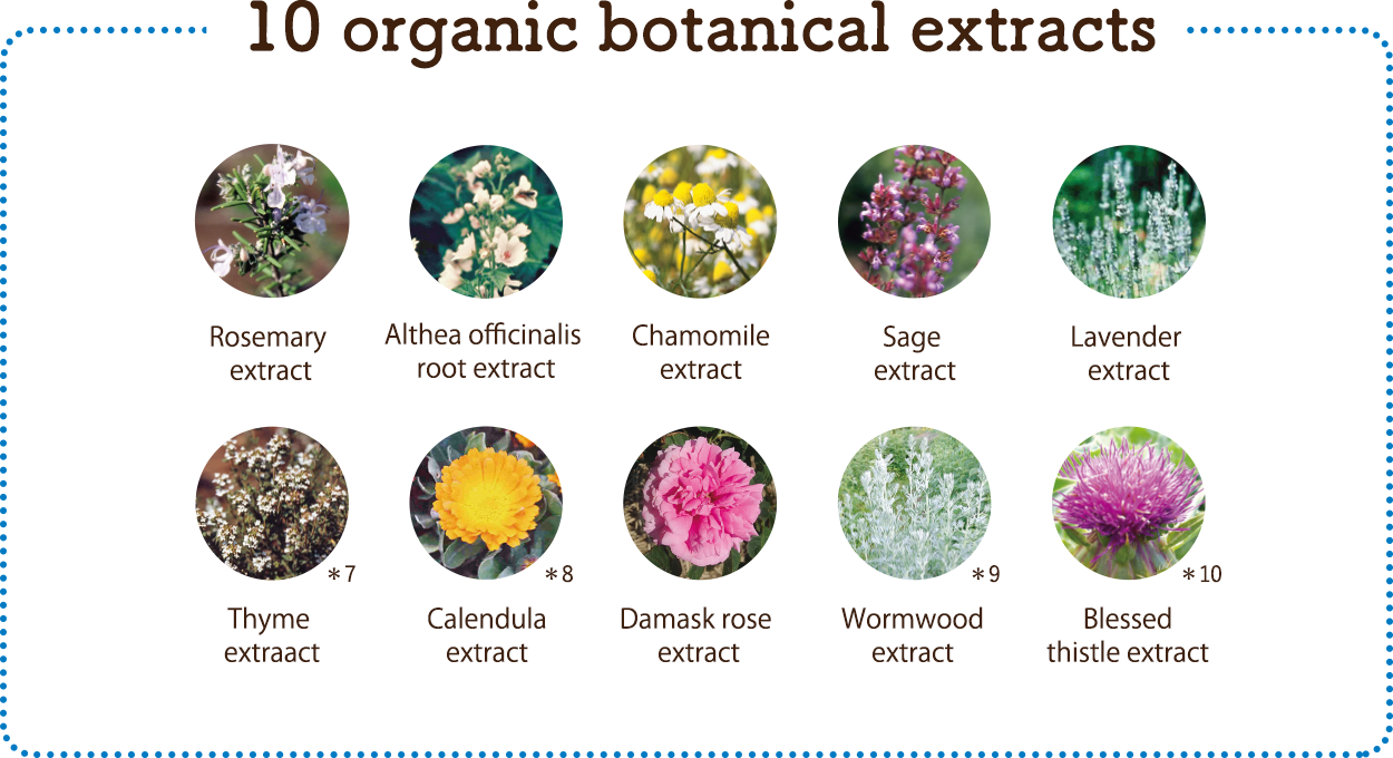 10 organic botanical extracts